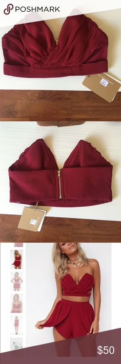 Sabo Skirt- Lady Luck Bustier Burgundy crop top. Brand new, never worn. Great conditions. Bought a size smaller by accident. Really is stunning that I bought myself the correct size. Sabo Skirt Tops Crop Tops