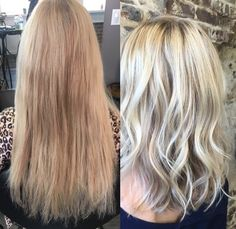 This from The Hair Studio by Colleen, we love the color on this blond lob.