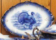 This LaBelle Blue Flow China platter displays a uniquely American decoration. Flow Blue China, Blue And White China, Love Blue, Turkey Plates, Turkey Dishes, Tom Turkey, Turkey Time, Blue Dishes, White Dishes