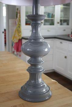 Love the high gloss gray spray paint on the lamp base