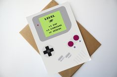 Gamer Birthday Card Nintendo Game boy inspired birthday card Game boy card - Level Up de la boutique MySweetPaperCard sur Etsy