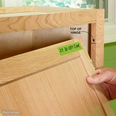 Remove Cabinet Doors and Drawers Removing shelves, doors and drawers makes installation easier and prevents damage. Mark the location of the doors on painter's tape, and make a pencil mark at the top of the hinges so you have a good starting point when you reinstall them.