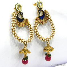 Gold Plated Paisley Earring Set With Phenomenal Peacock Design 258