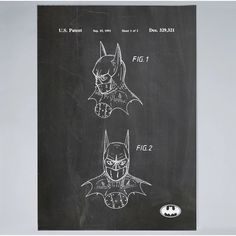"PingoWorld Patent Prints ""Bat Mask"" Graphic Art on Wrapped Canvas Size: Modern Art, Contemporary Art, Bat Mask, Patent Prints, Cool Posters, Online Art, Wrapped Canvas, Canvas Size, Graphic Art"