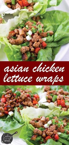 Asian Chicken Lettuce Wraps! This easy and delicious Asian lettuce wraps are made with ground chicken, carrots, mushrooms, and a homemade sauce. So easy and perfect for dinner #cookingformysoul Asian Chicken Lettuce Wraps, Asian Chicken Recipes, Yummy Appetizers, Appetizer Recipes, Dinner Recipes, Jasmine Rice Recipes, Wrap Recipes, Keto Recipes, Lettuce Recipes