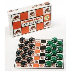 Oregon State Checkers: Crush your team's long-time rival when you play with this collegiate rivalry checker set from RICO® featuring team colors and logos. The set comes with a checkerboard and 24 miniature football helmets as playing pieces: 12 for your team and 12 for your team's traditional rival.  $19.99  http://www.calendars.com/Oregon-State-Beavers/Oregon-State-Checkers/prod200400013592/?categoryId=cat00629=cat00629#