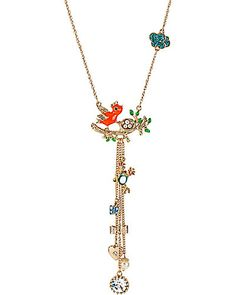 "• Gold tone necklace chain        • Orange bird with gold tone branch        • Nest with faux pearl beads       • Gold tone frog       • Gold tone chains with polka dot butterfly       • Round crystal accent       • Lobster claw closure       • Antique gold plating       • Metal/epoxy/glass material       • 16"" length + 3"" extension       • Y-Neck Width 1.5""       • Y-Neck Drop 5"""