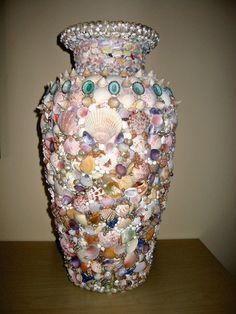 Seashell Vase - (smb: Make a candle holder. Light shining through the shells will make a beautiful sight.)