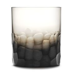 Hand cut and blown Moser double old fashioned glass. Reminiscent of small stones and tiny chunks of ice.