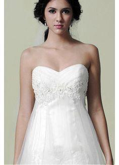 Stunning Sweetheart Sleeve Sleeveless Empire Full Length Chapel Empire Wedding Dresses