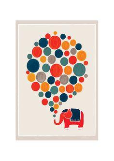 Petit éléphant Big Dream Art Print Illustration par dekanimal