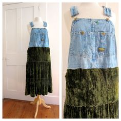 Upcycle Dress - Overalls - Crushed Velvet - Recycled Dress - Hippie - Gypsy - Tiered Skirt