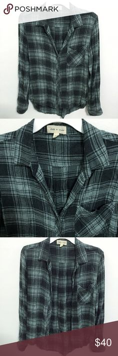Cloth & Stone Blue Green Plaid Button Down Shirt Brand new WITHOUT tags, women's size Small. This Anthropologie Cloth & Stone Plaid Button Down Shirt comes in a gorgeous blue green and charcoal grey color combination! Colors are more muted in person. Very soft and comfortable, made of 100% Rayon. If you own Cloth & Stone apparel, you will know that their material is amazingly soft and comfortable. Looks great worn buttoned up or open. Front chest pocket. Never worn but a bit wrinkly from…