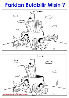 Hone your observation skills by finding the differences between the two pictures of a boy and girl with a giant pencil cup in this printable coloring page. 1st Grade Worksheets, Preschool Worksheets, Childhood Education, Kids Education, Kindergarten, Hidden Pictures, Picture Puzzles, Activity Sheets, Comme Des Garcons