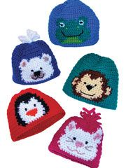 I have this pattern and I can't wait to make these hats for my grandchildren. I know Ben will love the monkey and Henry the frog. Katie and Julie the kitten. Caleb, I think will like the monkey too, and Corbin the bear. Crochet Animal Hats, Crochet Kids Hats, Knit Or Crochet, Crochet Crafts, Crochet Projects, Crocheted Hats, Easy Crochet, Crochet Ideas, Crochet Blanket Patterns