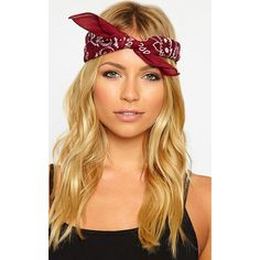Takota Burgundy Bandana-One Size ($4.27) ❤ liked on Polyvore featuring accessories, red, red handkerchief, burgundy bandana and red bandana