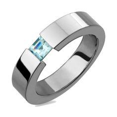 Mother Day Gifts Titanium Ring W Tension Set Aquamarine Birthstone Wedding Band #AlainRaphael