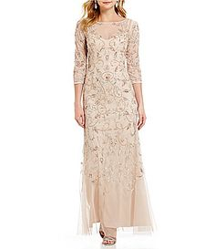 Adrianna Papell 34 Sleeve Beaded Floral Scroll Gown #Dillards