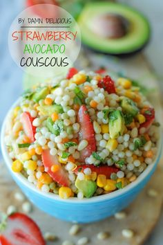 Strawberry Avocado Couscous Salad with Lime Vinaigrette - With a refreshing lime vinaigrette and fresh, summer produce, this Israeli couscous makes for a perfect summer salad! ~ Damn Delicious