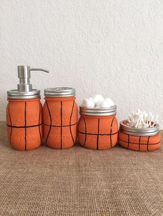 Basketball Mason Jar Bathroom Set  Gift for Him by BUtifulDesigns