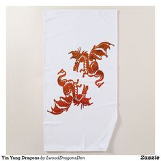 Yin Yang Dragons Beach Towel