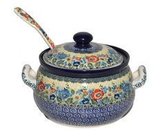New Polish Pottery Unikat 4 QT SOUP TUREEN Boleslawiec CA Pattern U4578 Stew Pot