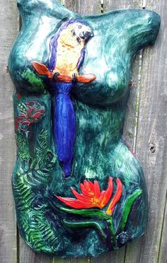 Tropical by Tammy Vitale hand/slab built clay torso, tammyvitale.com