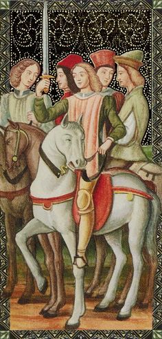 Knight of Swords - Golden Tarot of Renaissance par Giordano Berti & Jo Dworkin
