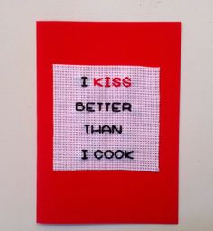 Funny Card I kiss better than I cook by benedettacraftyshop, $5.00 #withlove #greetingcard #valentine #lovecard #iloveyou #hearts #valentinesday #giftforher #giftforher #funnycard #etsy #Etsy #kisses #kisscard #cook