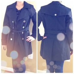 Gorgeous black trench coat Love this coat , amazing ! Comfortable trendy and so classy! Size small new never worn. Water repellent and 100% polyester Calvin Klein Jackets & Coats Trench Coats