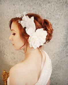 Goddess crown, white flower crown, wedding head peice, bridal circlet, hair accessory