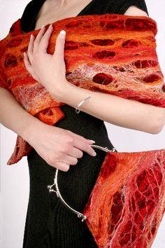 Ruby Red Cobweb Scarf & Bag