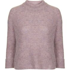 TOPSHOP Lofty Knit Jumper ($65) ❤ liked on Polyvore featuring tops, sweaters, lilac, topshop sweaters, topshop jumper, jumpers sweaters, topshop tops and brown tops