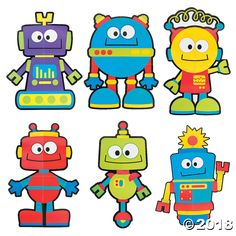 Create a fun and friendly atmosphere for students with these robot classroom decorations! They're a great way to bring color and whimsy into your learning . Robot Clipart, Robot Classroom, Maker Fun Factory Vbs, Art Steampunk, Robots Drawing, Robot Theme, Image Deco, Arte Robot, Robots For Kids