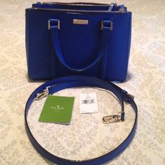 """Kate spade small loden in orbitblue like new!!! This is a gorgeous electric blue color. It's a dark blue but bright! Pic three shows true color. Spotless interior. Pockets inside. Big zipper pockets also. Long detachable strap shown in pic. Comes w care card and original tag. No dust bag. 11x8.5x5"""". Smoke free home!! Only used for a month! kate spade Bags Shoulder Bags"""
