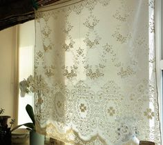 Antique c1930s Arts & Crafts Curtain cotton lace panel 35 x36  deadstock.sample