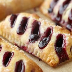 Enjoy a taste of Maine with these exceptional Blueberry Turnovers with sweet Maine blueberries and these buttery pastries are all natural and have no preservatives or additives. Perfect for breakfast or a decadent dessert served with ice cream. Brownie Desserts, Just Desserts, Delicious Desserts, Dessert Recipes, Yummy Food, Yummy Treats, Sweet Treats, Caramel, Cheesecake