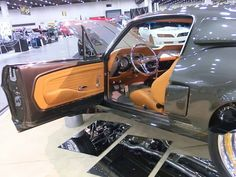 1967 Ford Mustang Shelby – Serious As A Heart Attack, 67 mustang fastback gt500 grey with camel butterscotch interior. custom painted console door panels, shelby ridler contender. brown tan orange PROJECTS | JF Kustoms 67