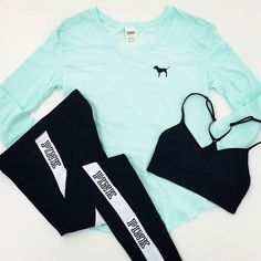 Victoria's Secret Pink workout clothes | Cute workout clothes for women | Sport Bras | Workout tights @ http://www.FitnessApparelExpress.com
