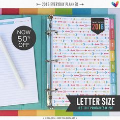 "L • 2016 Everyday Planner Pages - PDF - 8.5"" x 11"" - A4 Letter Size Printable Organizer Inserts"