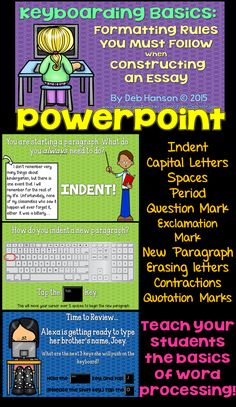 Do you want your students to be able to independently complete a writing assignment on the computer? Or, do your students need to know how to type an essay for a state assessment? This PowerPoint teaches the basics of keyboarding and various formatting ru Persuasive Essays, Argumentative Essay, Essay Writing, Writing Ideas, Writing Process, Computer Lessons, Computer Class, Technology Lessons, Computer Science