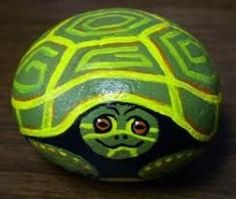 Hand-Painted Turtle Rock