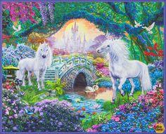 Printed Fabric Panel Make A Cushion Upholstery Craft Unicorn Wings Stars