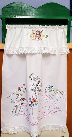Vintage Tea Towel Cover, hand embroidered from Finland, Kitchen towel, Scandinavian tea towel cover