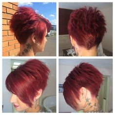 My stylist is amazing! Love her and my hair 🙂 Mon styliste est incroyable! L'aime et mes cheveux 🙂 Funky Short Hair, Short Hair With Layers, Cute Hairstyles For Short Hair, Short Hair Cuts For Women, Short Hair Styles, Short Haircut, Red Pixie Haircut, Corte Pixie, Great Hair