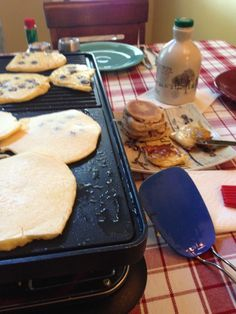 Blueberry pancakes on a Velata raclette grill.
