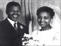 Nelson and Winnie Mandela on their wedding day