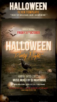 Halloween Party Flyer Template PSD #design Download…