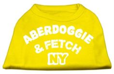 Mirage cat Products 16-Inch Aberdoggie NY Screenprint Shirts, X-Large, Yellow ** Additional details found at the image link  : Cat Apparel
