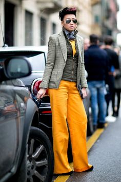 Women's street style at the men's shows   Never Underdressed